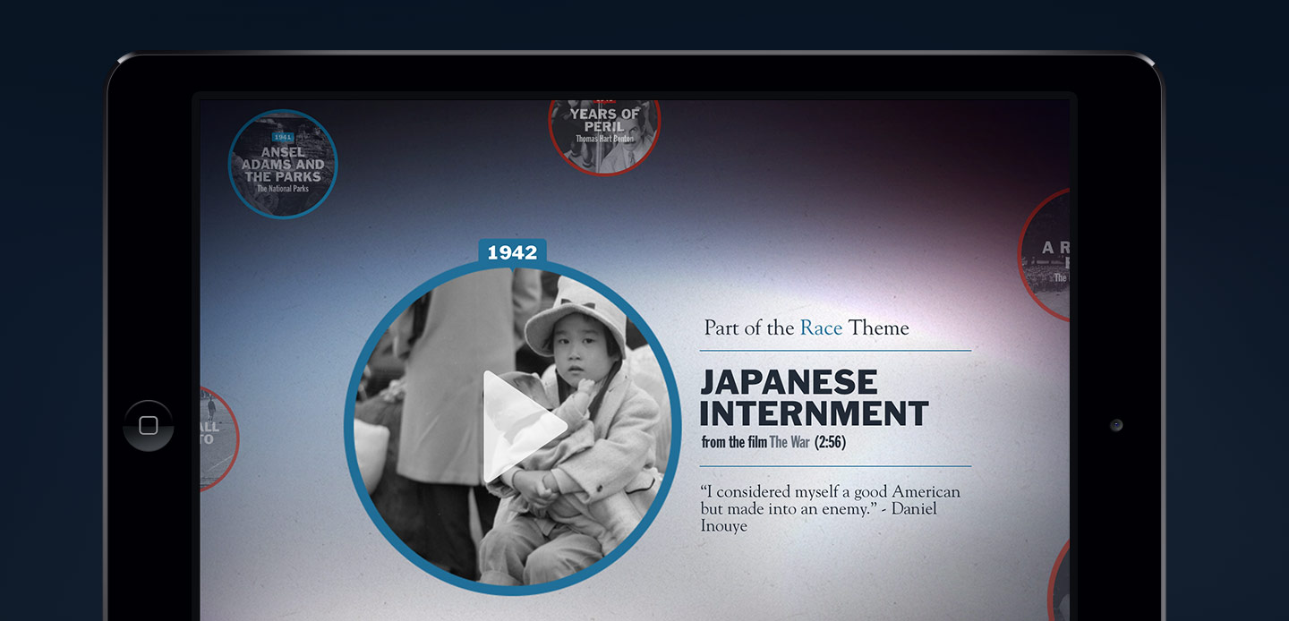 Closeup of film clip detail about Japanese Internment, part of the Race theme